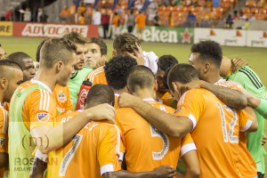 The Dynamo huddled up before the match
