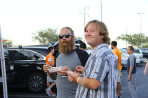 Steve and I enjoying food from the Orange Fanaticos party bus Photo Credit Giovanni Paz