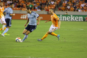 USMNT Teammates Brad Davis and Graham Zusi battle in the midfield