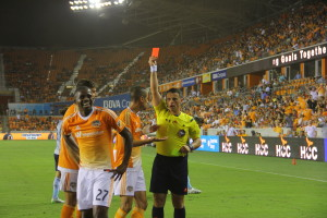 Boniek Garcia' being sent off. Always smiling though.