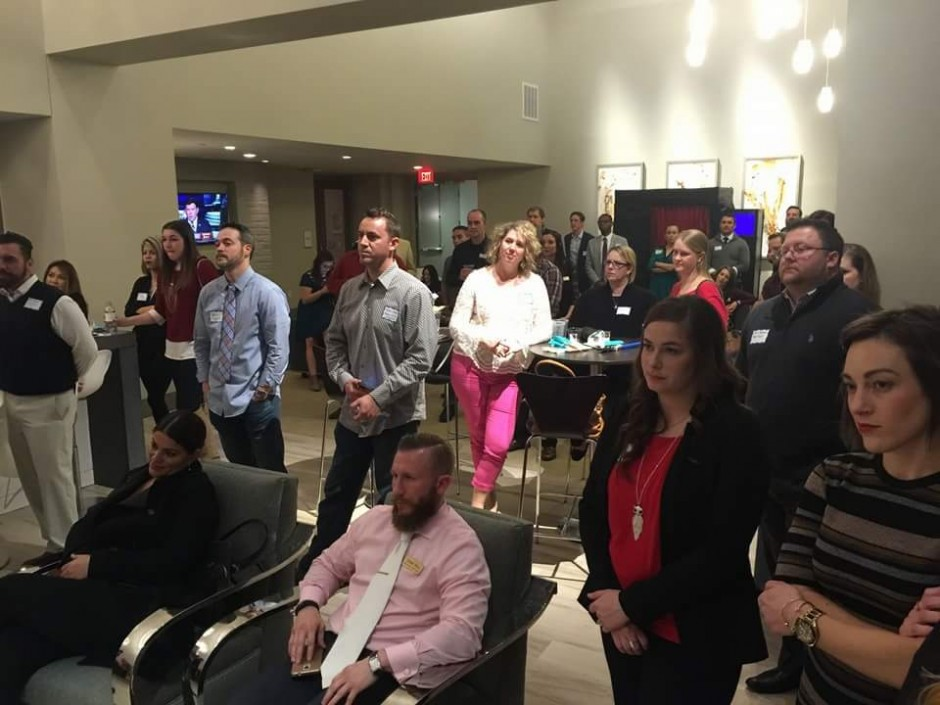 Young Entrepreneurs Network giving full attention to Jason Higham of Cherry Creek Mortgage during speech about attacking this year with intellect, strong work ethics and love Photo: Cara Hatcher