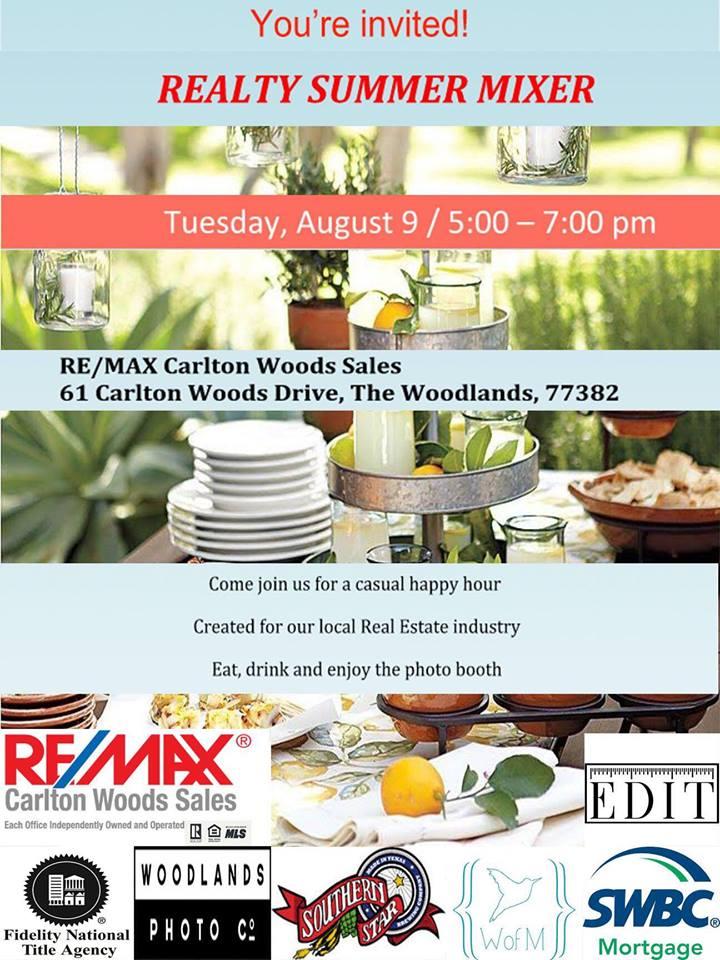 Remax Carlton Woods Sales Happy Hour Flyer