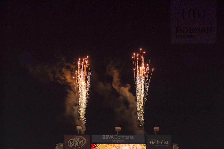 Fireworks exploding at BBVA Compass Stadium