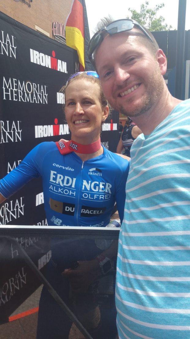 Ironman Women's Champion Julia Gajer and Jason Franklin